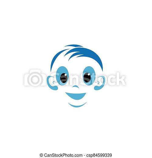 icono, sonrisa, vector, cara, bebé - csp84599339