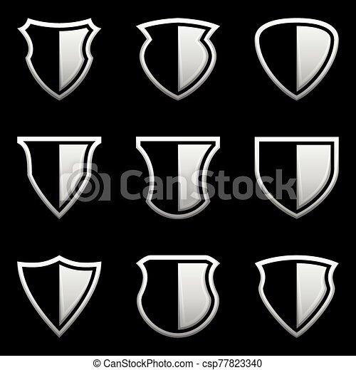 icono, vector, ilustración, conjunto, protector, plano de fondo, negro - csp77823340