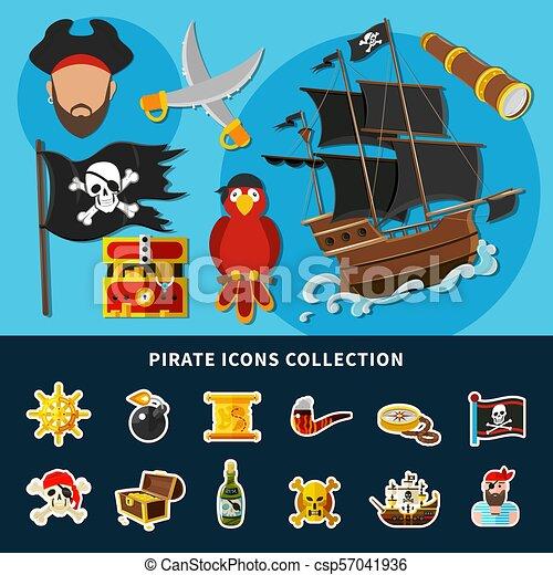Colección de dibujos animados de piratas - csp57041936