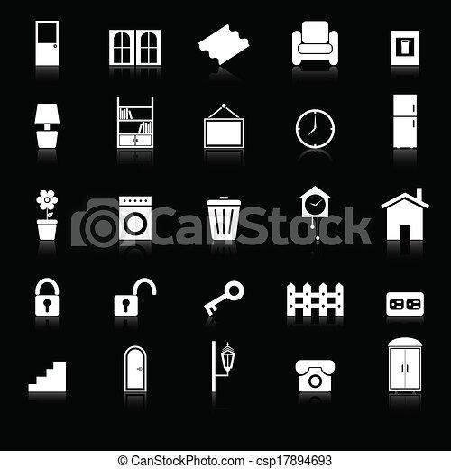 iconos relacionados con la casa que reflejan el fondo negro - csp17894693