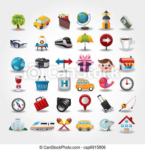 iconos, collection., viaje, ilustración, vector, símbolo - csp6915806