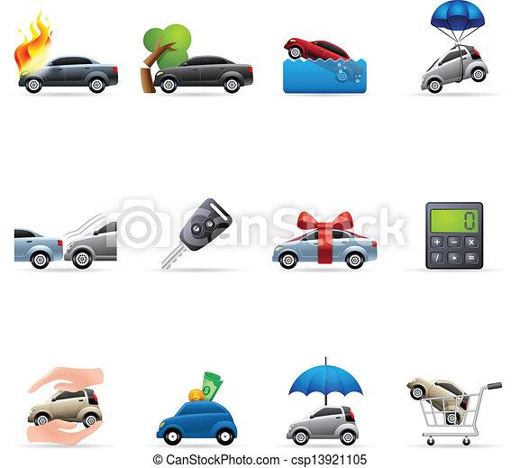 iconos de color, seguro de autos - csp13921105