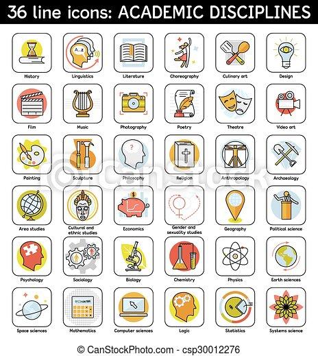 Un conjunto de iconos de disciplinas académicas - csp30012276