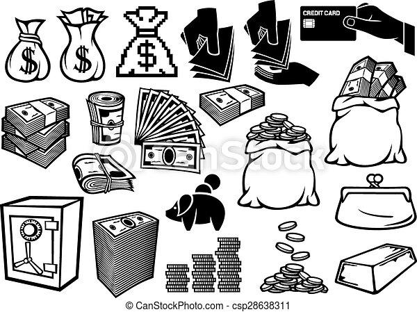 Iconos de dinero listos - csp28638311