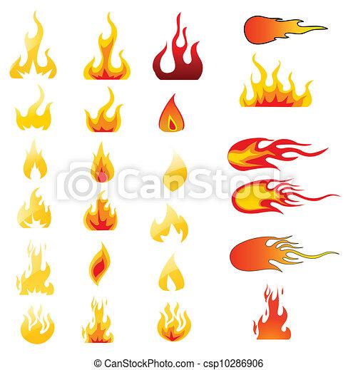 Los iconos de fuego fijaron el vector - csp10286906