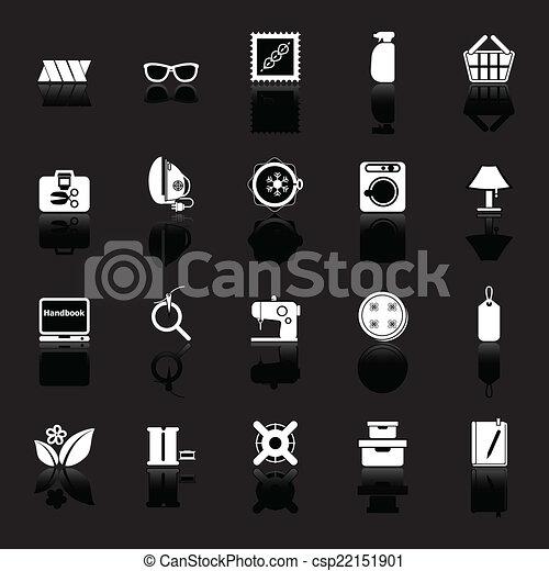 Cosiendo iconos relacionados con el reflejo de fondo negro - csp22151901