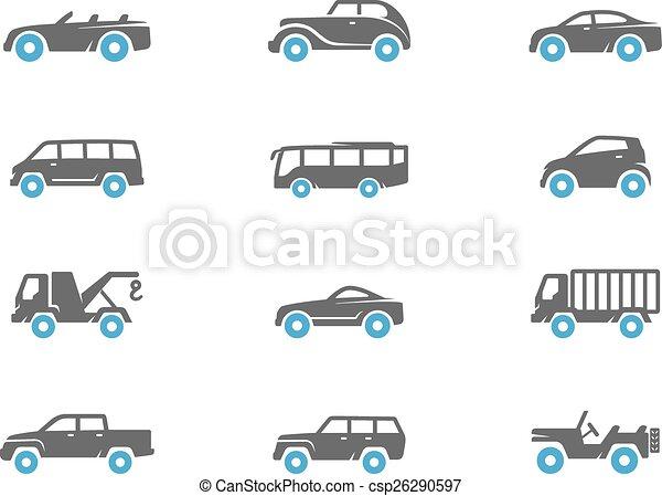 iconos, dúo, coche, tono, colors. - csp26290597
