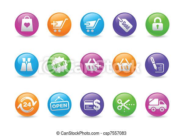 iconos de la tela, compras, /, arco irirs - csp7557083