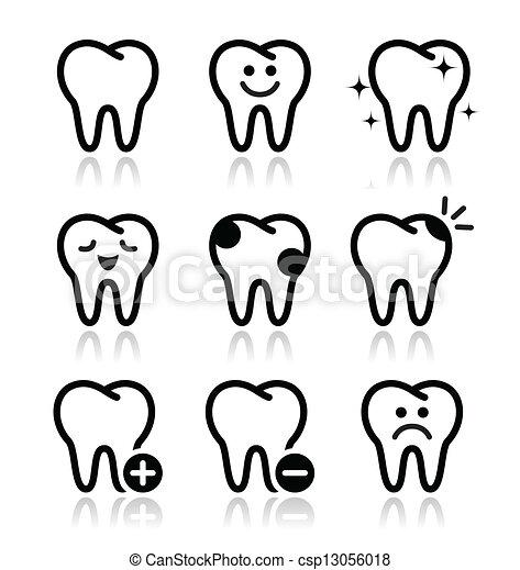 Dientes, iconos del vector de dientes puestos - csp13056018