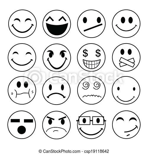Los iconos emocionales de Vector - csp19118642