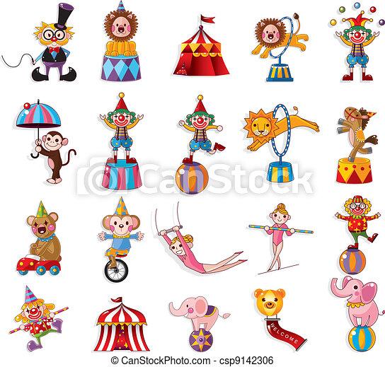 Cartoon feliz colección de iconos de circo - csp9142306