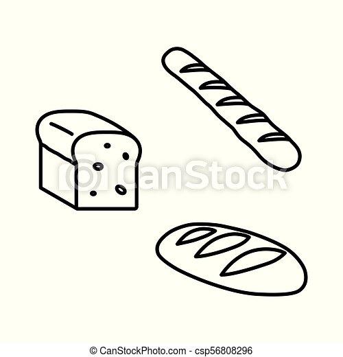 iconos negros de pan en fondo blanco - csp56808296