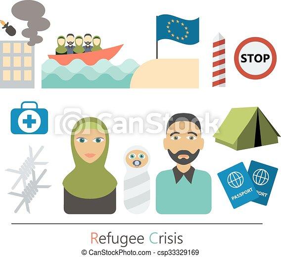 Refugiados concepto de vector de crisis plana. El concepto de víctimas de guerra. Los elementos infográficos. Diseño de dibujos de personajes de dibujos de iconos planos. - csp33329169