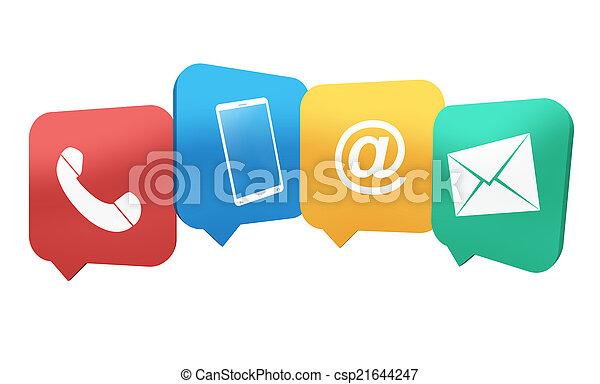 Simbolos de contacto creativos combinados de 4 iconos diseño de ilustración - csp21644247