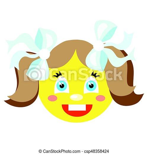 La chica sonriente se ríe. Iconos en un fondo blanco. Imágenes de vector - csp48358424