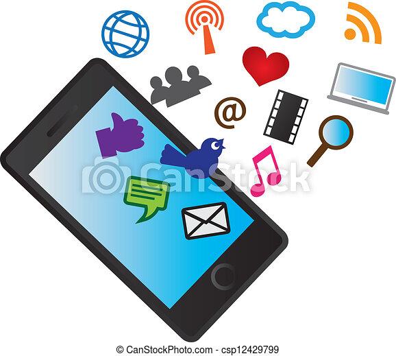 Teléfono móvil con iconos de las redes sociales - csp12429799