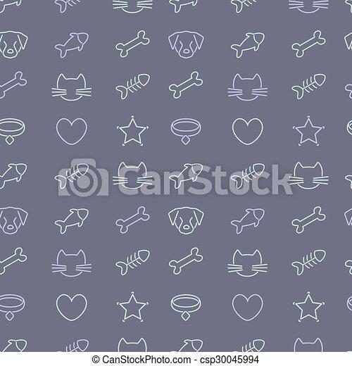 Las mascotas forman iconos de fondo negro. - csp30045994