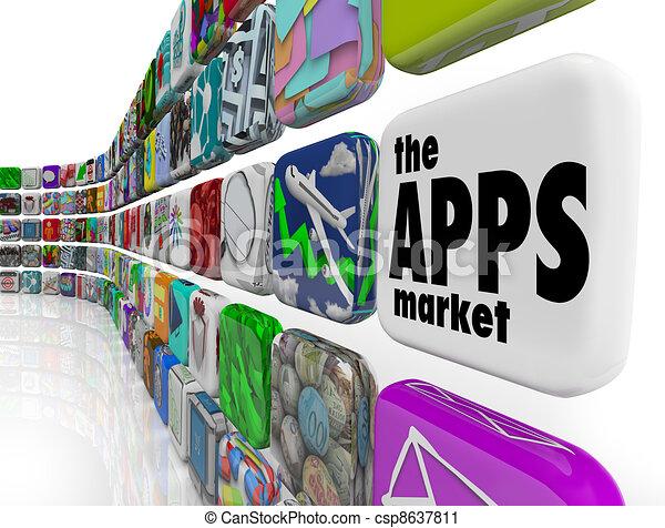 La pared del mercado de aplicaciones de software - csp8637811