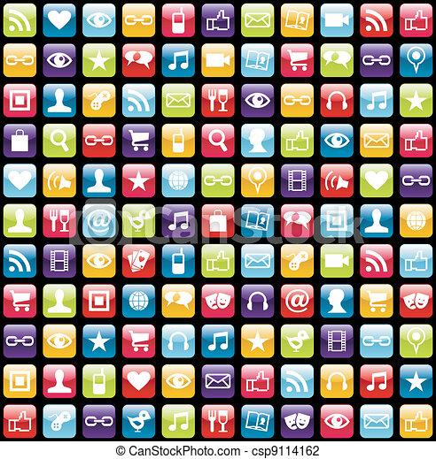 El teléfono móvil muestra iconos de fondo - csp9114162