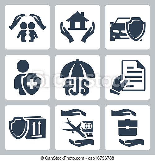Los iconos del seguro de vectores fijados: seguro familiar, seguro de casa, seguro de vida, seguro de vida, seguro de depósitos, seguro de bienes, seguro de viaje, seguro de riesgo - csp16736788