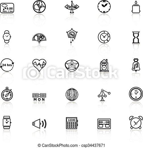 Diseñar iconos de la línea de tiempo con reflexión sobre el fondo blanco - csp34437671