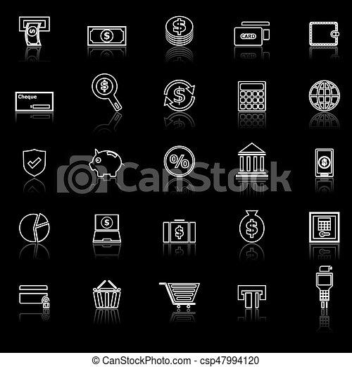 Los íconos de la línea de pago reflejan el fondo negro - csp47994120