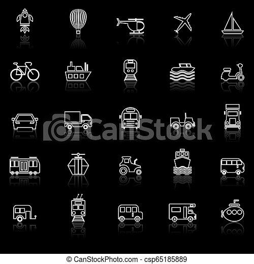 Los íconos de la línea de vehículos reflejan el fondo negro - csp65185889