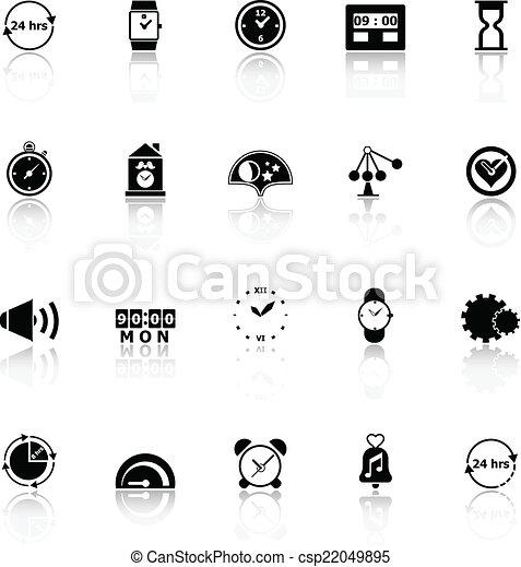 Los iconos relacionados con el tiempo reflejan el fondo blanco - csp22049895