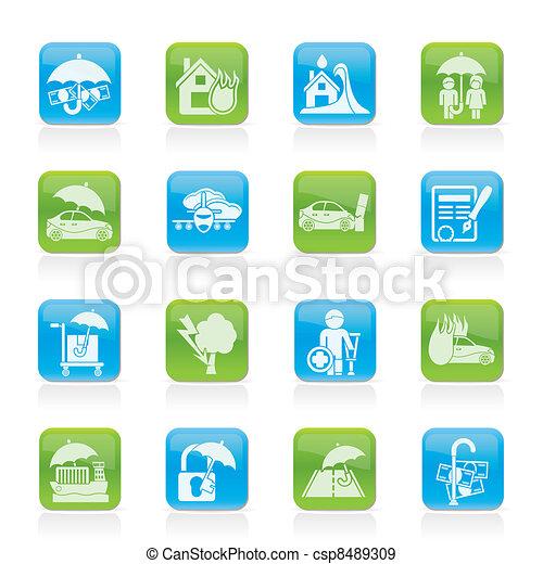 Seguros y iconos de riesgo - csp8489309