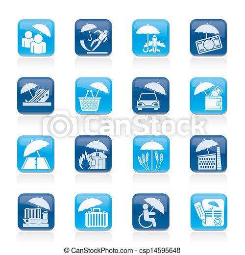 Seguros, riesgos y iconos de negocios - csp14595648