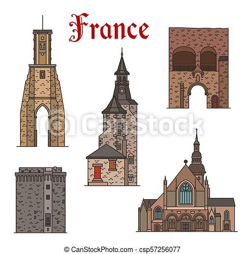 Francia marca vector de iconos de línea de arquitectura - csp57256077