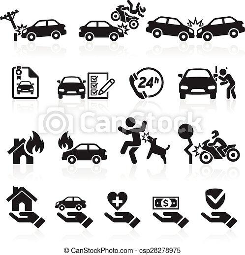 Iconos de seguros listos. Ilustración de vectores. - csp28278975