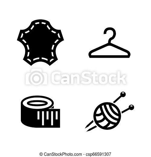 Tailoring, ropa de costura. Simples iconos vectoriales relacionados - csp66591307