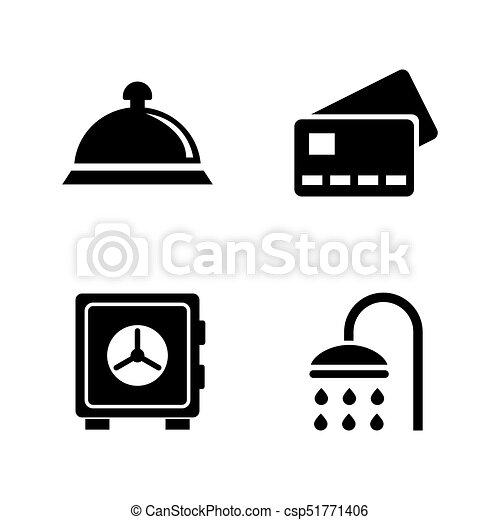 Servicios de hotel. Simples iconos vectoriales relacionados - csp51771406
