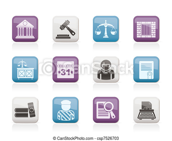 Los iconos del sistema judicial y de justicia - csp7526703