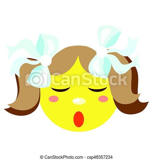 La chica sonriente duerme. Iconos en un fondo blanco. - csp48357234