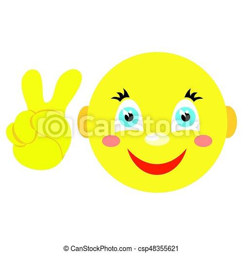 Smiley con gesto victoriano, iconos V. en un fondo blanco. - csp48355621