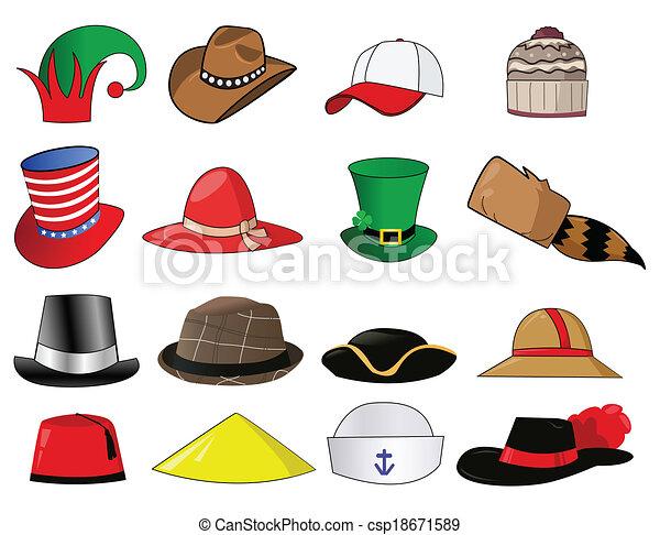 Varios sombreros ilustran iconos - csp18671589