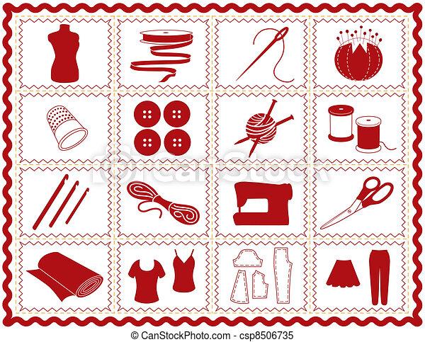 Cosiendo, sastre, tejido, iconos de crochet - csp8506735
