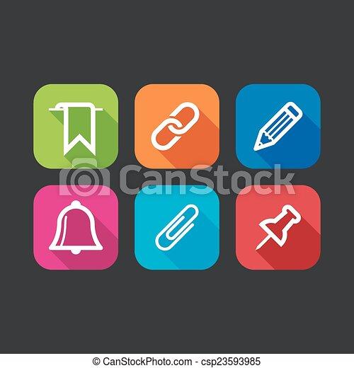 iconos planos para la web y las aplicaciones móviles (Diseño plano con largas sombras) - csp23593985