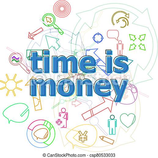 iconos, texto, dinero., simple, línea, concepto, conjunto, tiempo, delgado, infographics - csp80533033