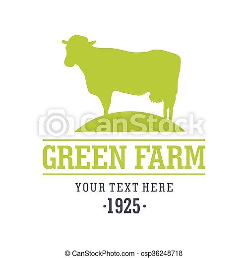 iconos de diseño plano con animales de granja - vaca - csp36248718