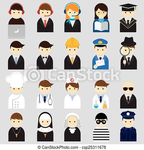 Varias personas ocupan íconos - csp25311678