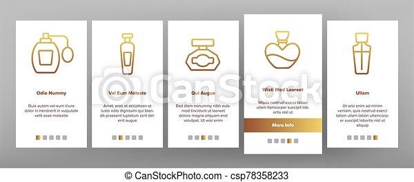 iconos, vector, perfume, contenedores, conjunto, onboarding - csp78358233