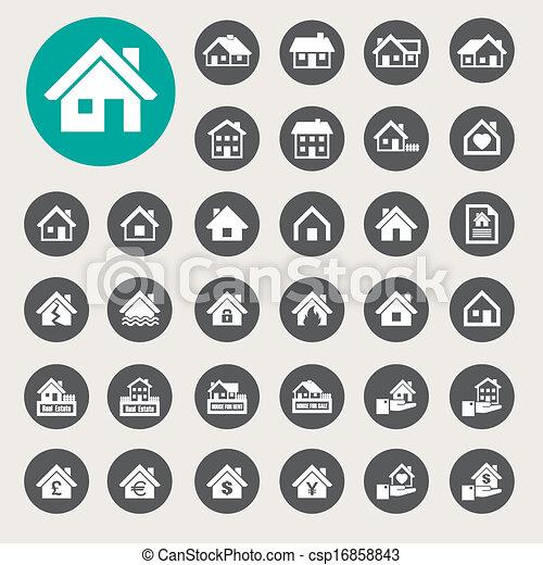 Los iconos de las casas. Bienes raíces. - csp16858843