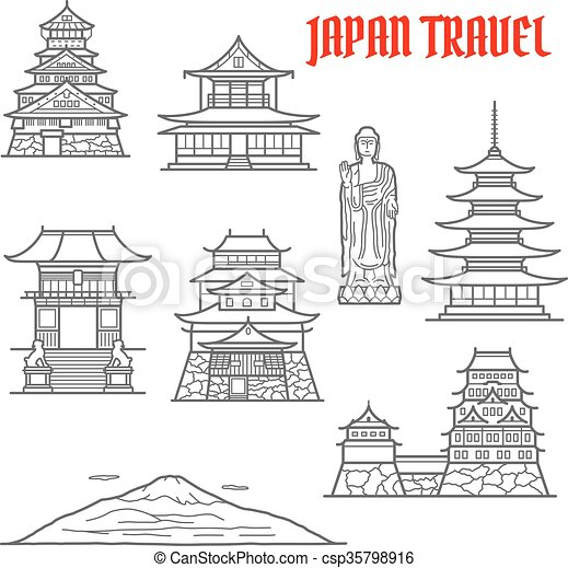 Japón viaja puntos de referencia delgados iconos de línea - csp35798916