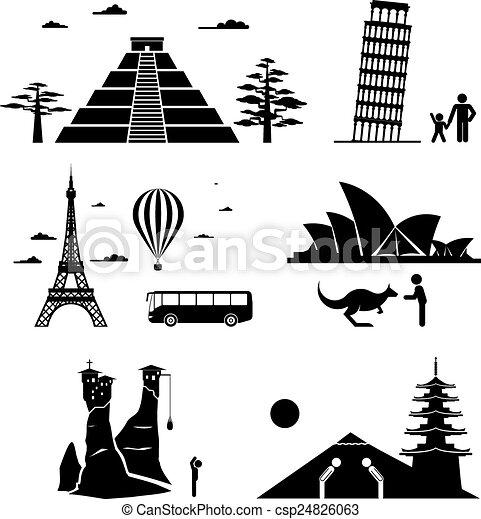 Los monumentos famosos viajan iconos - csp24826063