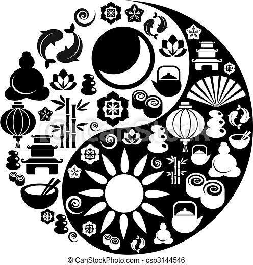 Simbolo Yin yang hecho de zen iconos - csp3144546