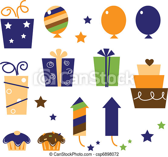Icons and design elements for party celebration. Vector Illustration.  - csp6898072