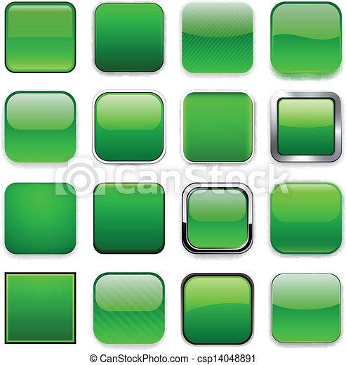 iconos verdes cuadrados. - csp14048891